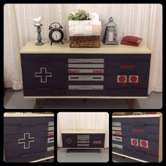 A fun Nintendo dresser created with Emperor's Silk, Graphite, Old Ochre and French Linen Chalk Paint® decorative paint by Annie Sloan | By A Perfect Treasure https://www.facebook.com/pages/A-Perfect-Treasure/485262678174651