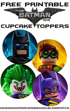 Free Lego Batman Cupcake Toppers - Batman Party - Ideas of Batman Party - Free Printable Lego Batman cupcake Toppers. These were too big & a little grainy. Lego Batman Party, Lego Batman Cakes, Lego Batman Birthday, Lego Birthday Party, Lego Batman Movie, Star Wars Birthday, Superhero Party, Boy Birthday, Batman Stuff
