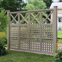 Yardistry 4 in. x 4 in. Powder Coated Aluminum Pyramid Post - The Home Depot Yardistry 4 Privacy Fence Landscaping, Privacy Fence Designs, Garden Privacy, Backyard Fences, Garden Fencing, Garden Trellis, Backyard Landscaping, Privacy Fence Decorations, Fence Wall Design