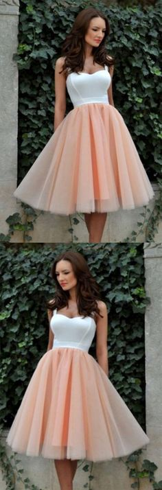 Simple Square Knee-Length Graduation Dress,A-line Tulle Champagne Homecoming Dress,Sweetheart Sweet 16 Cocktail Dress,Homecoming Dress,HY567