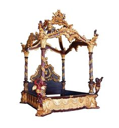 Dark Cherry & Gold Ornate Luxurious Heavily Carved Poster Bed w/ Cherubs  (SO) #Handmade #Traditional