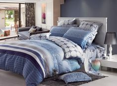 New Reactive Printed Tencel duvet cover Blue Bedding Sets, Cheap Bedding Sets, Luxury Bedding Sets, Cheap Bed Linen, Blue Bedspread, Relaxation Room, Linen Bedroom, Cotton Duvet, Bed Spreads