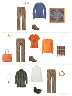 three outfits from a capsule wardrobe in olive, orange and brown