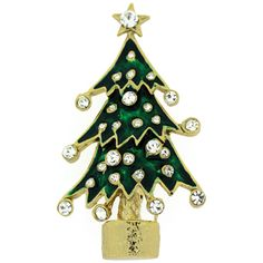 Gold Plated, Swarovski Crystal & Green Enamel Christmas Tree Brooch