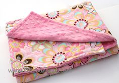 Baby Blanket - Pink Flowers and Pink Minky Dot - Girl Baby Blanket