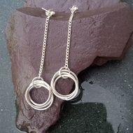 Silver Russian Wedding Drop Earrings