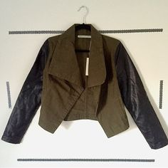 Military Jacket (Romeo & Juliet Couture) **Faux leather sleeve military olive green jacket. Great finishing touch to any outfit! New with tags!** Romeo & Juliet Couture Jackets & Coats