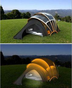invençoes-inteligentes-Com energia solar você pode iluminar sua barraca à noite.