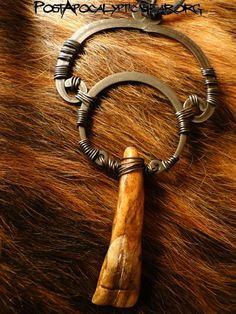 Necklaces :: Water Buffalo Tooth Wired - Post-Apocalyptic Gear - Handmade bone jewelry and leather goods.