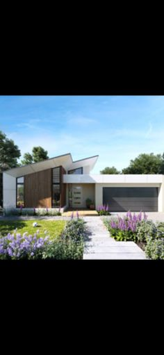 Hamlan Homes, Geelong One Level House Plans, Garage House Plans, Dream House Plans, Modern House Plans, Facade Design, Roof Design, Exterior Design, Flat Roof House, Facade House
