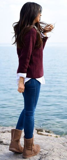 Not Your Standard Burgundy Sweater And U G G Boots Fall Street Style Inspo
