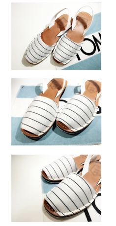 stripe sandel only white