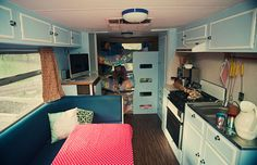 "Foxs Lane: Caravan photo-shoot... Family on a 6 month road trip in Australia - photo of inside remodel of their ""Caravan"""