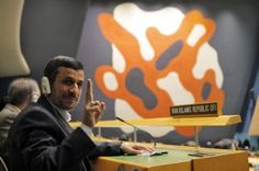 Iran's President Mahmoud Ahmadinejad flashes a V-sign during the high-level meeting of the General Assembly on the Rule of Law at the United Nations headquarters in New York September 24, 2012. REUTERS/Eduardo Munoz