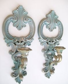 Vintage Candle Wall Sconces Pastel Blue Scrolled Hollywood Regency Style.