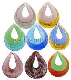 Mode Lampwork Anhänger, Tropfen, Silberfolie und Goldpulver, gemischte Farben