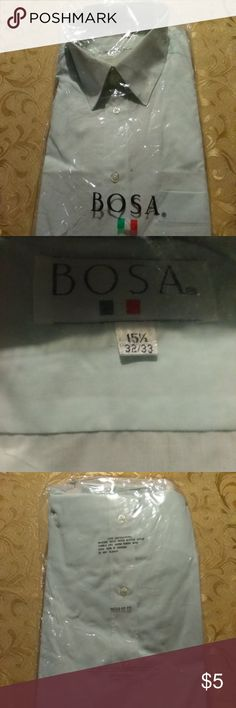 Bosa Men's Dress Shirt (15 1/2-32,33) NWT A never used Men's Dress shirt. It's long sleeve,There is no damage to this item .  It's still in the original package. It's a Men's (15 1/2,32-33) Regular fit Color: Light Green Material:65% Polyester, 35% Cotton   Make an offer on this or any item you like. Bundle and save even more. Bundle deals change.   Thank you for shopping kingzmarket631. Bosa Shirts Dress Shirts