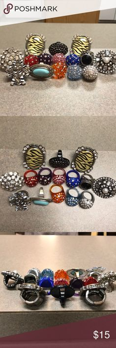 Cute costume jewelry rings Pre-loved, super cute rings. Not 100% sure on the size, but I'm a 7 and they fit me. Some are stretchy/adjustable. See pics. $1 per ring Jewelry Rings