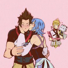 Terra, Aqua, Ventus and Chirithy - TerrAqua Kingdom Hearts 3, Kingdom Hearts Characters, Kh Birth By Sleep, Kh 3, Shall We Date, Vanitas, Cute Anime Couples, Anime Art, Fan Art