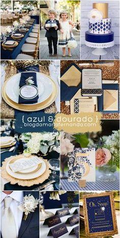 Decoração de Casamento : Paleta de Cores Azul e Dourado   http://blogdamariafernanda.com/decoracao-de-casamento-paleta-de-cores-azul-e-dourado