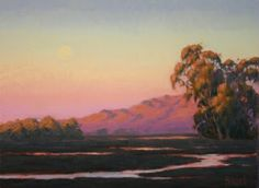 """Wetland Moonrise"", 9"" x 12"" and 12"" x 16"" Limited Edition Fine Art Giclée Prints, Northern California Landscape Painting, dreamy sky, Terry Sauve, terrysauve.com"
