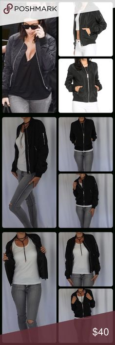 Black Bomber Jacket Trendy lightweight bomber jacket. This is this seasons must have. Stylish and sexy. ⭐️100% Polyester  ⭐️Lightweight and very comfortable  ⭐️Zipper details ⭐️Trendy Black Color ⭐️Fits true to size ⭐️Model is 5'8-120 and wearing a medium Trades/ PayPal or Mercari *️⃣Price Firm Unless Bundled Jackets & Coats