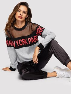 To find out about the Mesh Yoke Heather Grey Letter Pullover at SHEIN, part of our latest Sweatshirts ready to shop online today! Sport Fashion, Look Fashion, Fashion News, Spring Fashion, Fashion Outfits, Fashion Design, Womens Fashion, Textiles Y Moda, Sport Outfits