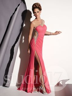 Studio 17 Style 12431: One-shoulder stretch net sheath with asymmetrical pleating, illusion nude neckline, back with beaded detail. #prom #prom2014 #pageant #dress #specialoccasion #formalwear #studio17 #houseofwu