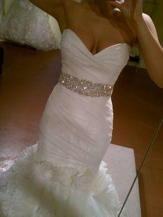 Dress and sash! :  wedding dress jewelry lismora monique lhuillier rivini sash Mail 17