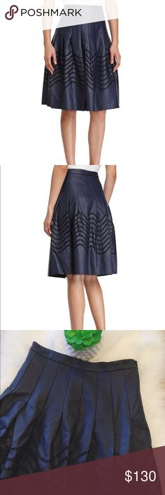 🆕HALSTON HERITAGE ALINE NAVY SKIRT 📦FREE SHIPPING WHEN ADDED TO BUNDLE📦 Like new!!! Navy HALSTON HERITAGE Aline skirt. No flaws like new. Knife pleats with side zipper. Fully lined with embroidered eyelet design on bottom hem. Faux leather and dry clean only. Waist sits at about at belly button height. Halston Heritage Skirts A-Line or Full