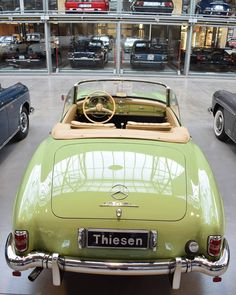 """Green Dreams""  Mercedes Benz #190SL at the ""Classic remise"" in Berlin/Germany. Pic via instagram (bogdancristiann) / #BruceAdams190SL"