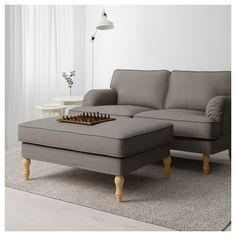 STOCKSUND Footstool - Nolhaga grey-beige, light brown/wood - IKEA Padded Coffee Table, Ikea Stocksund, Pipe Decor, Grey And Beige, Extra Seating, Brown Wood, Keep It Cleaner, Seat Cushions, Lounge