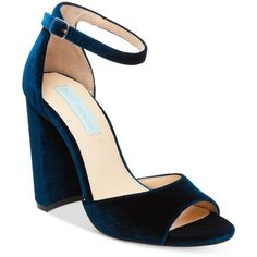 Blue by Betsey Johnson Carly Block-Heel Sandals ($89) ❤ liked on Polyvore featuring shoes, sandals, heels, blue velvet, block-heel sandals, ankle tie sandals, blue sandals, ankle wrap sandals and color block sandals