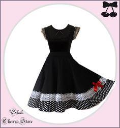 """S M L XL XXL Lace Dress """" Pinup """" Black Cherrys Store Black White Dots"""
