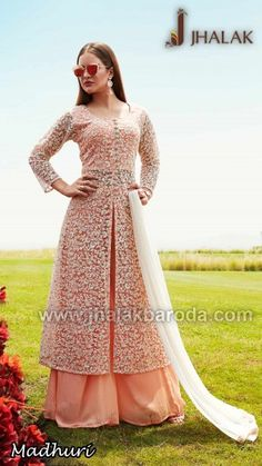 Peach Color Thread Worked Designer Plazo Suit Indian Gowns Dresses, Indian Fashion Dresses, Indian Designer Outfits, Designer Anarkali Dresses, Designer Dresses, Designer Kurtis, Designer Wear, Moslem Fashion, Pakistani Outfits