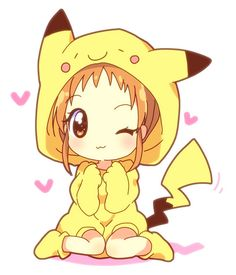 Chibi pikachu really cute. I believe that is Misty in that Pikachu suit Anime Chibi, Art Anime, Kawaii Chibi, Anime Kunst, Cute Chibi, Manga Anime, Kawaii Girl, Pikachu Pikachu, Pikachu Bebe
