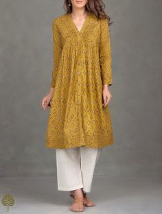 Buy Mustard Black Ajrak Printed Pleated Cotton Kurta Women Kurtas Ajrakh Essentials Dresses and more Online at Jaypore.com