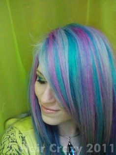 Some pastel hair. Lavender, bright turquoise and soft pale pink and blue?