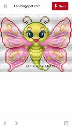 Perler Beads, Pixel Art, Loom, Butterflies, Plastic, Embroidery, Crafts, Fictional Characters, Punto De Cruz
