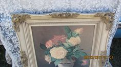 FREE SHIPPING Antique Look Highly Ornate Gold Gesso Designs Framed Cabbage Roses…