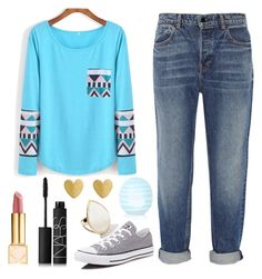 """Blue Aztec Print Top"" by trendy-and-chic ❤ liked on Polyvore featuring Alexander Wang, Converse, Tory Burch, NARS Cosmetics, Topshop and Ippolita"