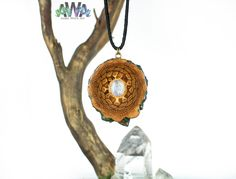 Rainbow Moonstone Droplet SMALL Pinecone Pendant - High Gloss by AmberWhiteArt on Etsy