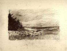 """Pencil drawing """"The Sweep"""" by Andrew Wyeth 1967 