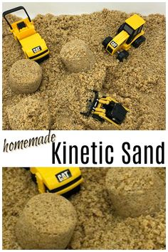 You won't believe how easy and cheap it is to make kinetic sand at home using this simple recipe. It's mouldable and shapeable and it lasts for months. Homemade Kinetic Sand, Make Kinetic Sand, Kinetic Sand Table, Kenetic Sand Recipe, Infant Activities, Activities For Kids, Cabin Activities, Learning Activities, Sensory Play Recipes