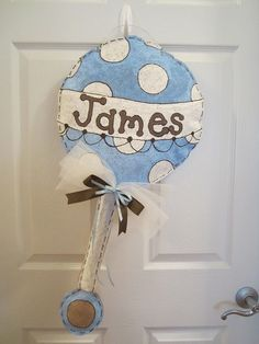 Baby Rattle Burlap Door Hanger by CailynsCreations on Etsy, $25.00