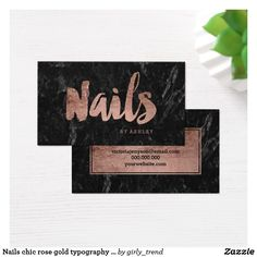 Nails chic rose gold typography black marble business card