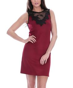 Look at this #zulilyfind! Burgundy Lace-Accent Sheath Dress #zulilyfinds
