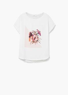 T-shirt tecidos combinados | MANGO
