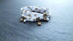 """bracelet liberty 2 tours """" étoiles dorées """" et cristal"""