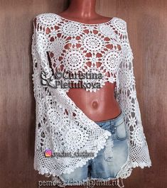 ab075f52b83 Crop top bell long sleeve boho lace crochet gipsy hippie indie sexy glamour  Standart length available